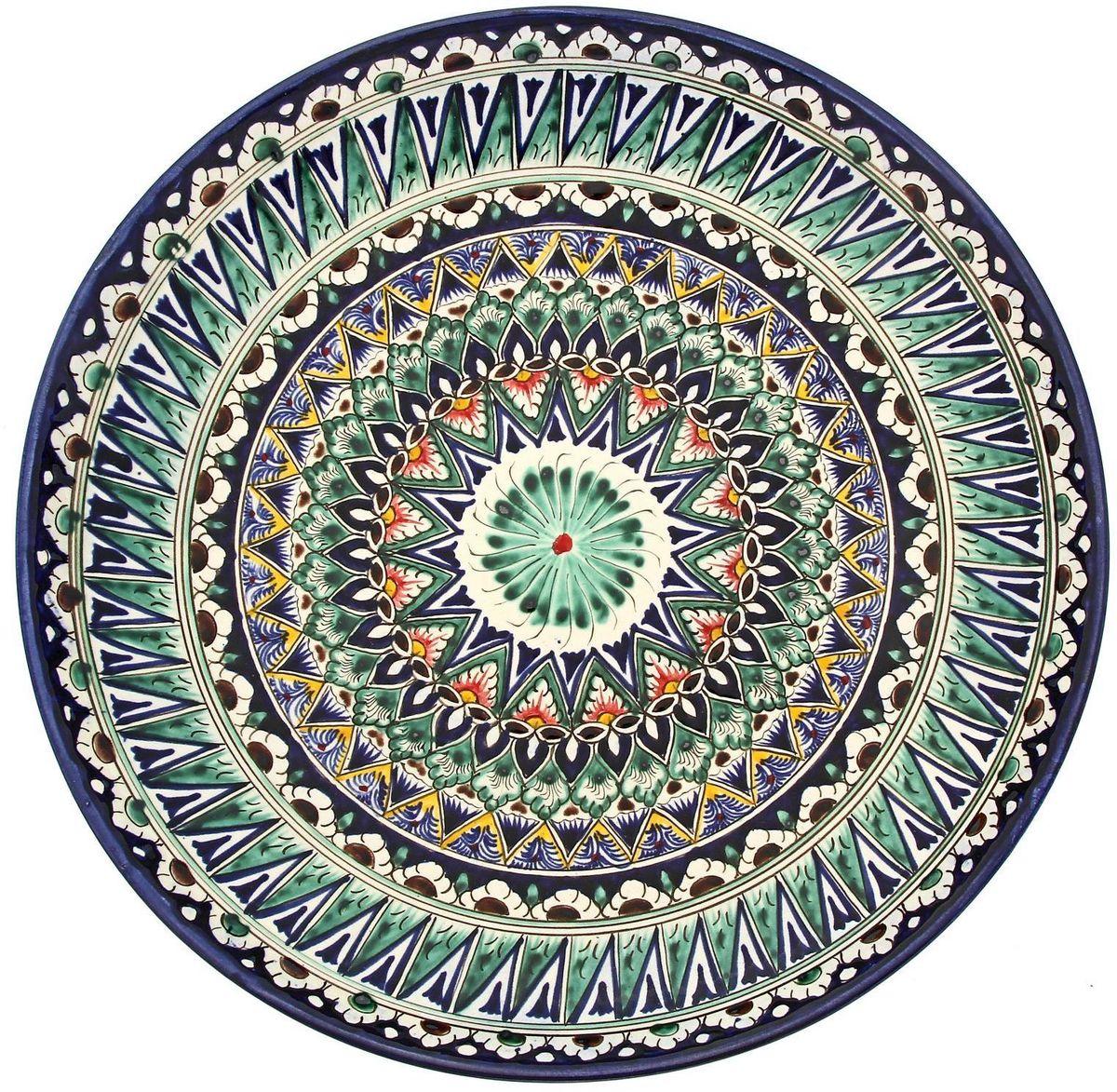 Ляган Риштанская керамика, цвет: синий, белый, диаметр 31 см. 19242261924226Ляган Риштанская керамика — это не просто обеденный атрибут, это украшение стола. Посуда с национальной росписью станет отменным подарком для ценителей высокородной посуды. Риштан — город на востоке Узбекистана, один из древнейших в Ферганской долине. С давних времен Риштан славится своим гончарным искусством изготовления цветной керамики. Красноватую глину для изделия добывают в самом городе. Мастера утверждают, что их глина настолько высокого качества, что даже не нуждается в предварительной обработке. Дополните коллекцию кухонных аксессуаров пряными восточными нотами.
