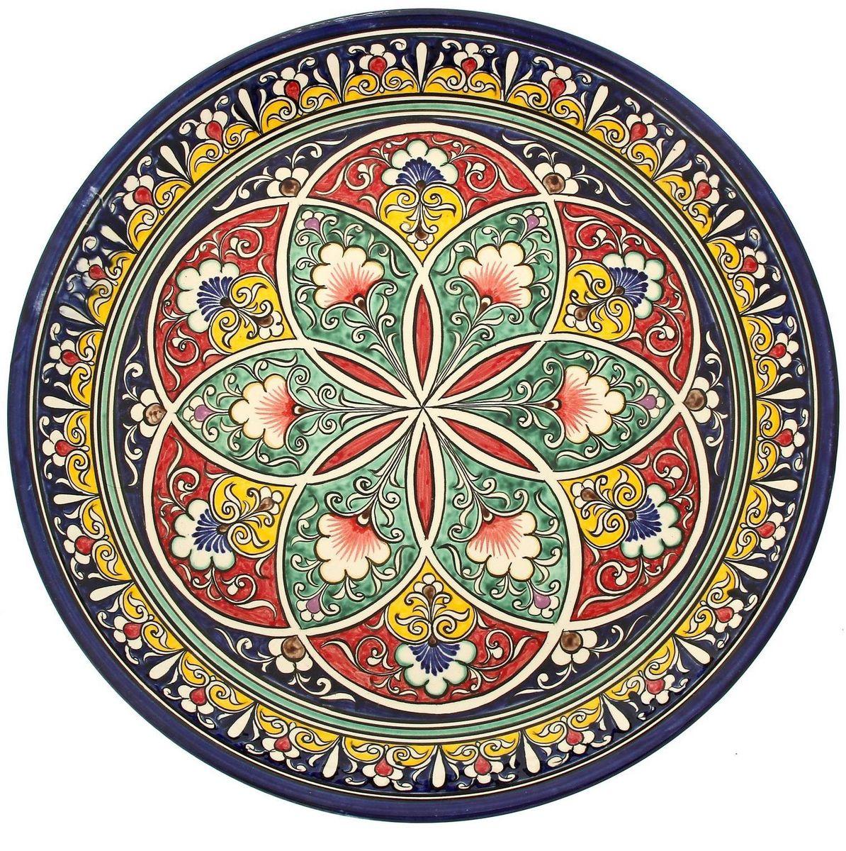 Ляган Риштанская керамика, диаметр 36 см. 19242351924235Ляган — это не просто обеденный атрибут, это украшение стола. Посуда с национальной росписью станет отменным подарком для ценителей высокородной посуды.Риштан — город на востоке Узбекистана, один из древнейших в Ферганской долине. С давних времён Риштан славится своим гончарным искусством изготовления цветной керамики. Красноватую глину для изделия добывают в самом городе. Мастера утверждают, что их глина настолько высокого качества, что даже не нуждается в предварительной обработке. Дополните коллекцию кухонных аксессуаров пряными восточными нотами.