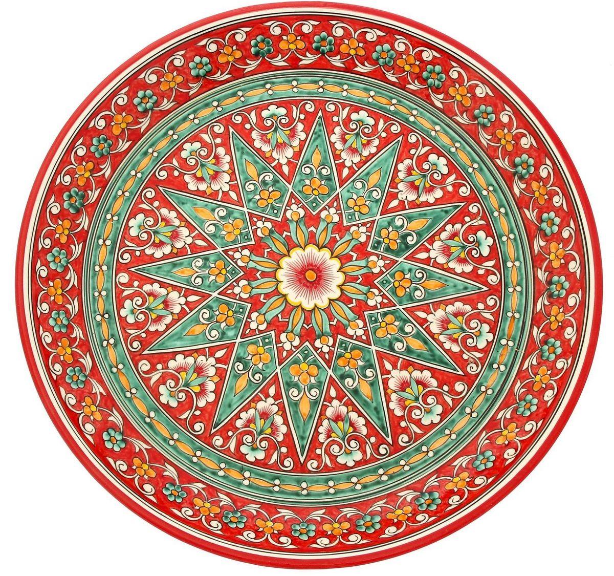 Ляган Риштанская керамика, диаметр 36 см. 19242421924242Ляган — это не просто обеденный атрибут, это украшение стола. Посуда с национальной росписью станет отменным подарком для ценителей высокородной посуды.Риштан — город на востоке Узбекистана, один из древнейших в Ферганской долине. С давних времён Риштан славится своим гончарным искусством изготовления цветной керамики. Красноватую глину для изделия добывают в самом городе. Мастера утверждают, что их глина настолько высокого качества, что даже не нуждается в предварительной обработке. Дополните коллекцию кухонных аксессуаров пряными восточными нотами.