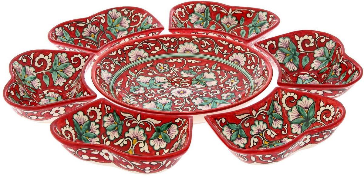 Набор салатников Риштанская керамика, цвет: красный, 7 шт1924255Набор салатников Риштанская керамика - это не просто обеденный атрибут, это украшение стола. Посуда с национальной росписью станет отменным подарком для ценителей высокородной посуды. Риштан - город на востоке Узбекистана, один из древнейших в Ферганской долине. С давних времён Риштан славится своим гончарным искусством изготовления цветной керамики. Красноватую глину для изделия добывают в самом городе. Мастера утверждают, что их глина настолько высокого качества, что даже не нуждается в предварительной обработке. Дополните коллекцию кухонных аксессуаров пряными восточными нотами. Объём салатниц: 0,4 л и 0,3 л.