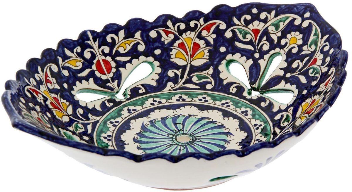 Блюдо Риштанская керамика, овальное, 29 х 32 см1924259Узбекская посуда известна всему миру уже более тысячи лет. Ей любовались царские особы, на ней подавали еду шейхам и знатным персонам. Формула глазури передаётся из поколения в поколение. По сей день качественные изделия продолжают восхищать своей идеальной формой.Данный предмет подойдёт для повседневной и праздничной сервировки. Дополните стол текстилем и салфетками в тон, чтобы получить элегантное убранство с яркими акцентами.