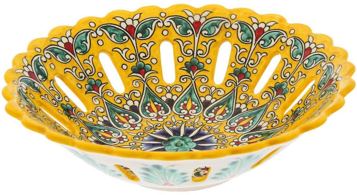 Фруктовница Риштанская керамика, цвет: желтый, диаметр 28 см1924260Узбекская посуда известна всему миру уже более тысячи лет. Ей любовались царские особы, на ней подавали еду шейхам и знатным персонам. Формула глазури передаётся из поколения в поколение. По сей день качественные изделия продолжают восхищать своей идеальной формой.
