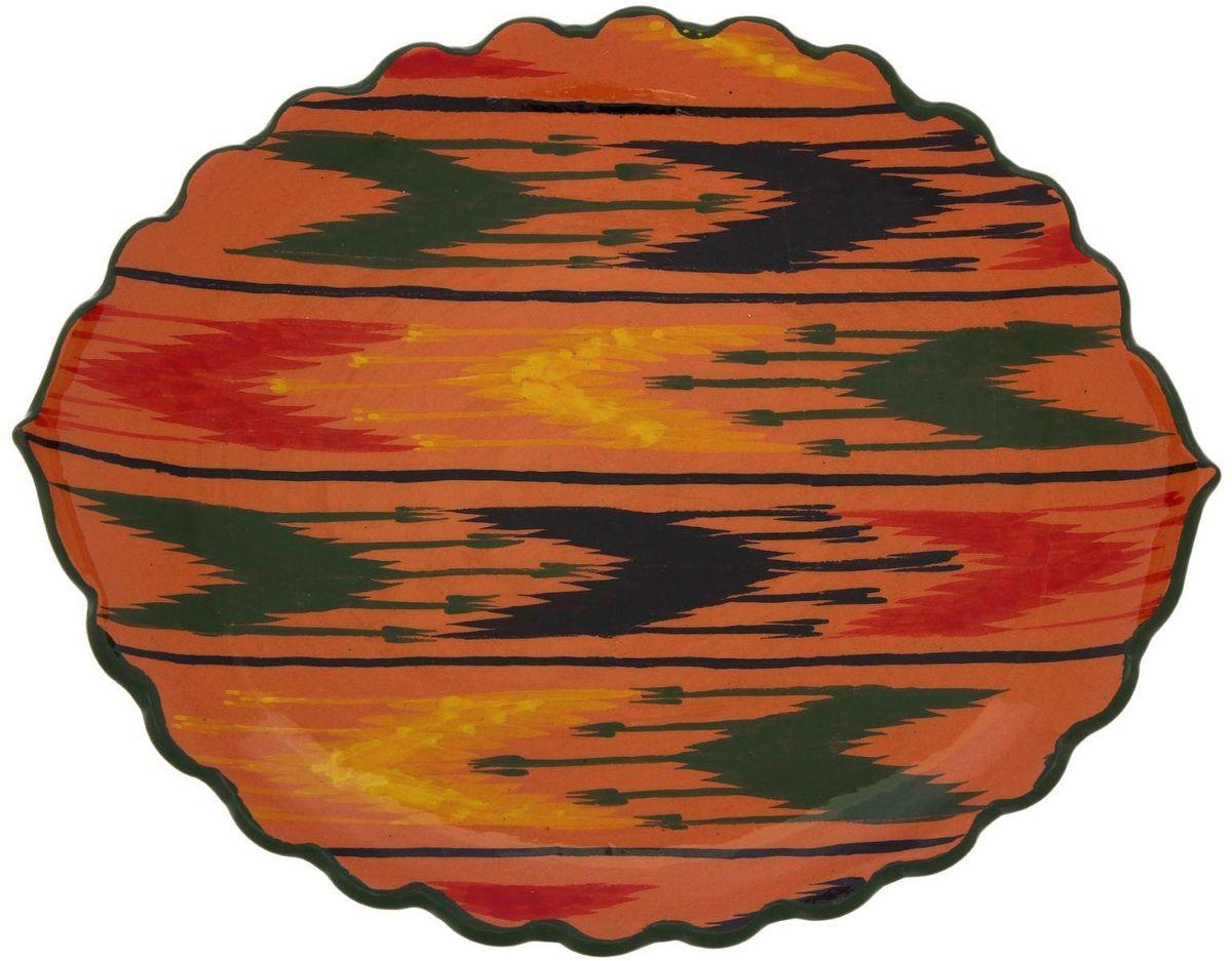Ляган Риштанская керамика Листок, 32 х 26 см2138701Ляган — это не просто обеденный атрибут, это украшение стола. Посуда с национальной росписью станет отменным подарком для ценителей высокородной посуды.Риштан — город на востоке Узбекистана, один из древнейших в Ферганской долине. С давних времён Риштан славится своим гончарным искусством изготовления цветной керамики. Красноватую глину для изделия добывают в самом городе. Мастера утверждают, что их глина настолько высокого качества, что даже не нуждается в предварительной обработке. Дополните коллекцию кухонных аксессуаров пряными восточными нотами.