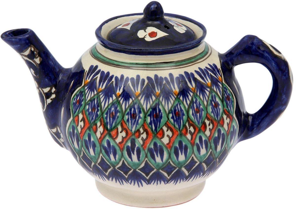 Чайник заварочный Риштанская керамика, 1 л. 21387152138715Узбекская посуда известна всему миру уже более тысячи лет. Ей любовались царские особы, на ней подавали еду шейхам и знатным персонам. Формула глазури передаётся из поколения в поколение. По сей день качественные изделия продолжают восхищать своей идеальной формой.Данный предмет подойдёт для повседневной и праздничной сервировки. Дополните стол текстилем и салфетками в тон, чтобы получить элегантное убранство с яркими акцентами.