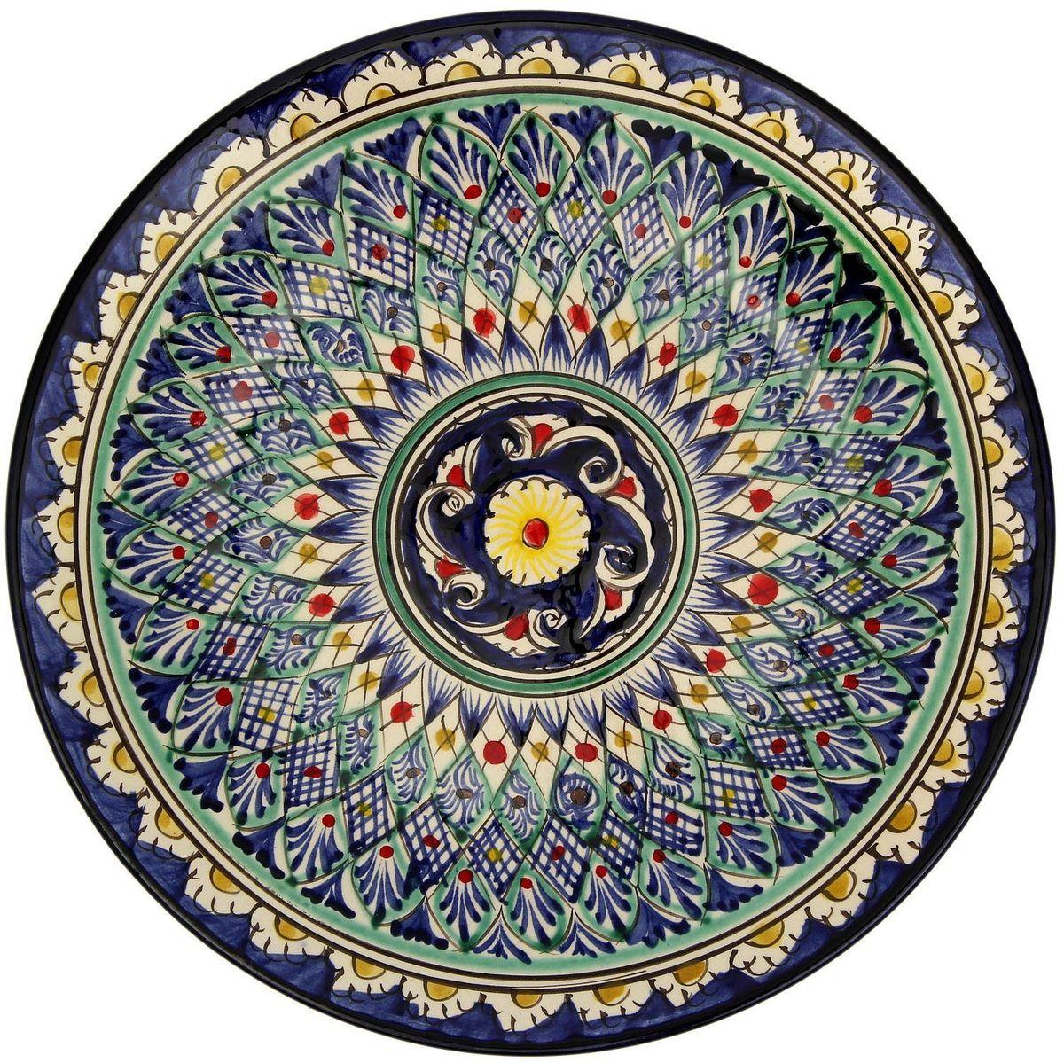 Тарелка Риштанская керамика, диаметр 27 см. 21580022158002Узбекская посуда известна всему миру уже более тысячи лет. Ей любовались царские особы, на ней подавали еду шейхам и знатным персонам. Формула глазури передаётся из поколения в поколение. По сей день качественные изделия продолжают восхищать своей идеальной формой.Данный предмет подойдёт для повседневной и праздничной сервировки. Дополните стол текстилем и салфетками в тон, чтобы получить элегантное убранство с яркими акцентами.