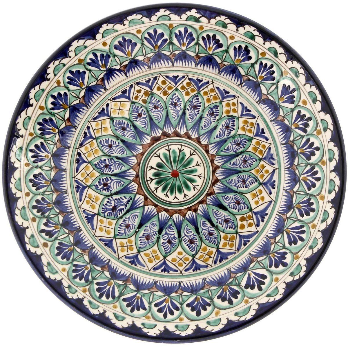 Тарелка Риштанская керамика, диаметр 25 см. 21580032158003Узбекская посуда известна всему миру уже более тысячи лет. Ей любовались царские особы, на ней подавали еду шейхам и знатным персонам. Формула глазури передаётся из поколения в поколение. По сей день качественные изделия продолжают восхищать своей идеальной формой.Данный предмет подойдёт для повседневной и праздничной сервировки. Дополните стол текстилем и салфетками в тон, чтобы получить элегантное убранство с яркими акцентами.