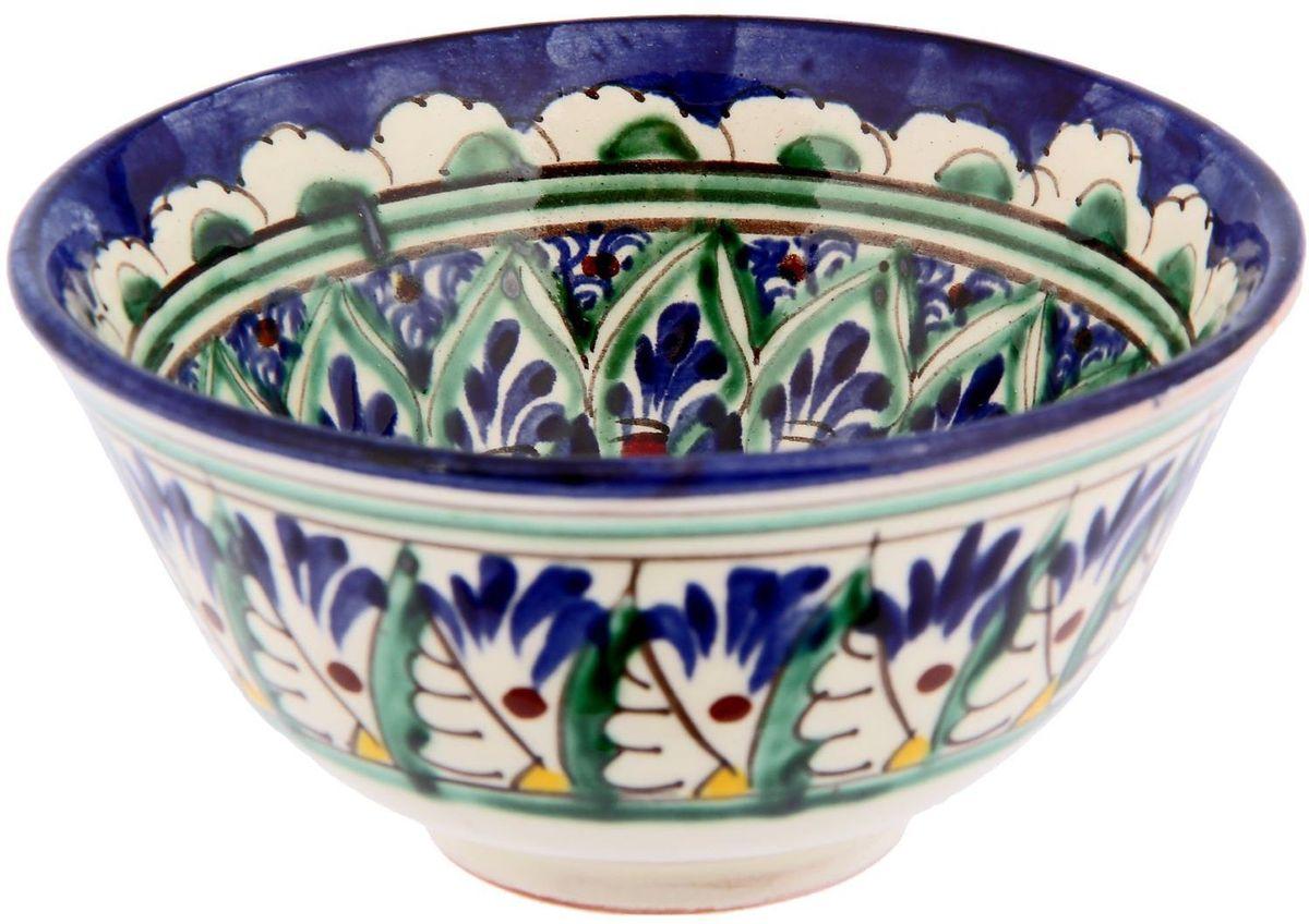 Пиала Риштанская керамика, цвет: синий, зеленый, желтый, 250 мл2331223Узбекская посуда известна всему миру уже более тысячи лет. Ей любовались царские особы, на ней подавали еду шейхам и знатным персонам. Формула глазури передается из поколения в поколение. По сей день качественные изделия продолжают восхищать своей идеальной формой.Пиала Риштанская керамика подойдет для повседневной и праздничной сервировки. Дополните стол текстилем и салфетками в тон, чтобы получить элегантное убранство с яркими акцентами.