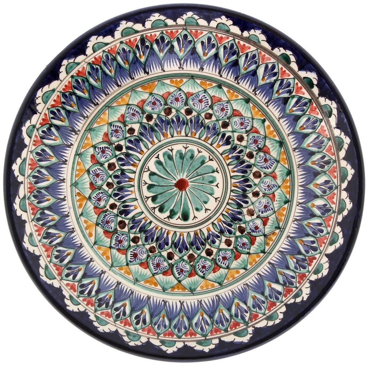 Тарелка Риштанская керамика, диаметр 25 см. 21580042158004Узбекская посуда известна всему миру уже более тысячи лет. Ей любовались царские особы, на ней подавали еду шейхам и знатным персонам. Формула глазури передаётся из поколения в поколение. По сей день качественные изделия продолжают восхищать своей идеальной формой.Данный предмет подойдёт для повседневной и праздничной сервировки. Дополните стол текстилем и салфетками в тон, чтобы получить элегантное убранство с яркими акцентами.