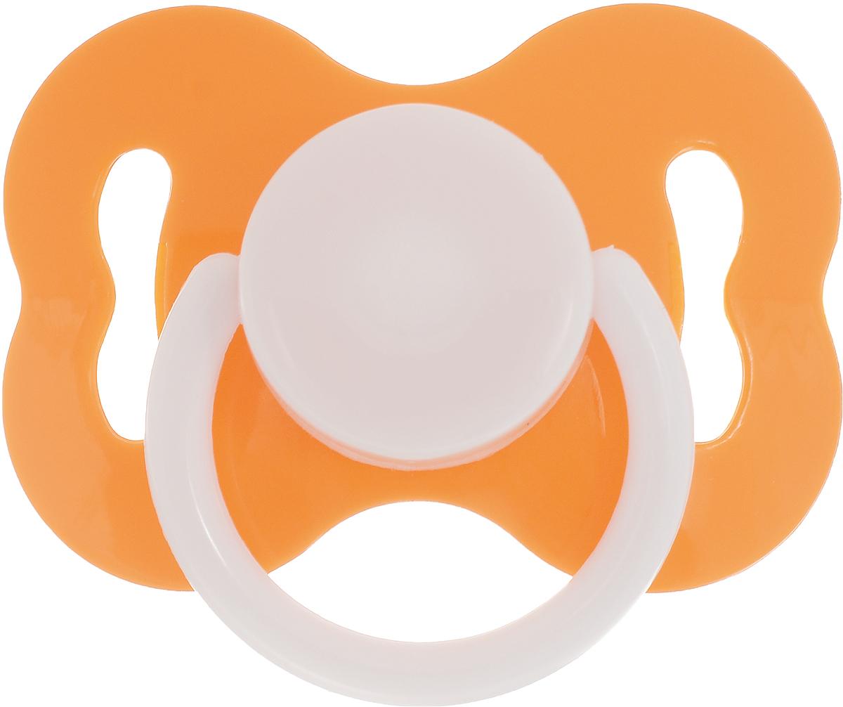 Lubby Пустышка силиконовая с рельефной поверхностью от 3 месяцев цвет оранжевый