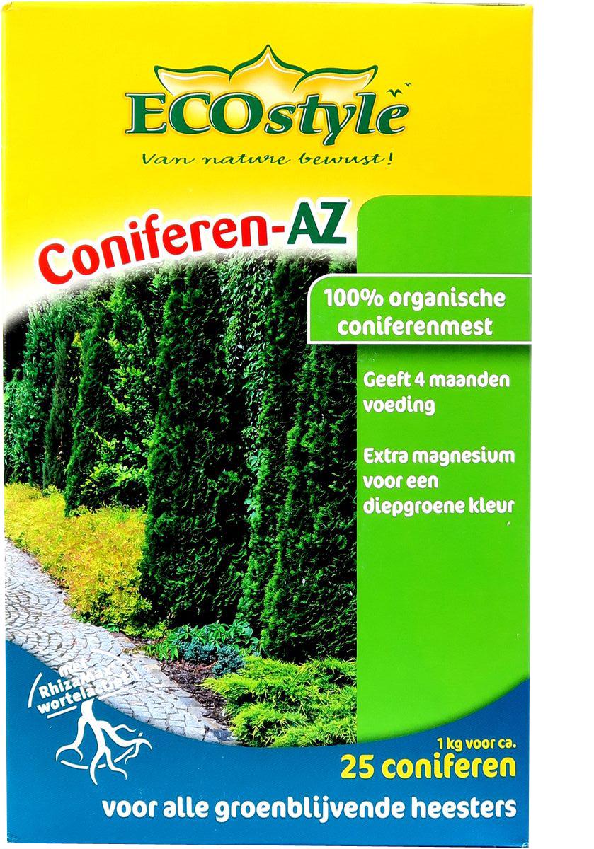 Удобрение натуральное органическое EcoStyle, для хвойных и вечнозелёных растений, 1 кг на 25 м21119-220Удобрение EcoStyle - 100% натуральное органическое удобрение, разработанное специально для хвойных и других вечнозеленых деревьев и кустарников, в нем содержится оптимальное количество всех необходимых микро и макро элементов необходимых для их нормального роста и развития. Coniferen-AZ отвечает всем экологическим стандартам. В его состав входит смесь почвенных микроорганизмов, которые обеспечивают удобрению высокую эффективность.Свойства экологического органического удобрения Coniferen-AZ:Обладает высокой эффективностью и длительным действием, обеспечивает растения питательными веществами на протяжении 4-х месяцев;Активизирует биологические процессы в почве, улучшает ее структуру и состав, что делает растения более яркими;Не вымывается из почвы дождевой водой и не разрушается от воздействия холода;Изготавливается только из экологического сырья высокого качества, не содержит вредных химических соединений;Способствует разложению вредных химических элементов в почве.