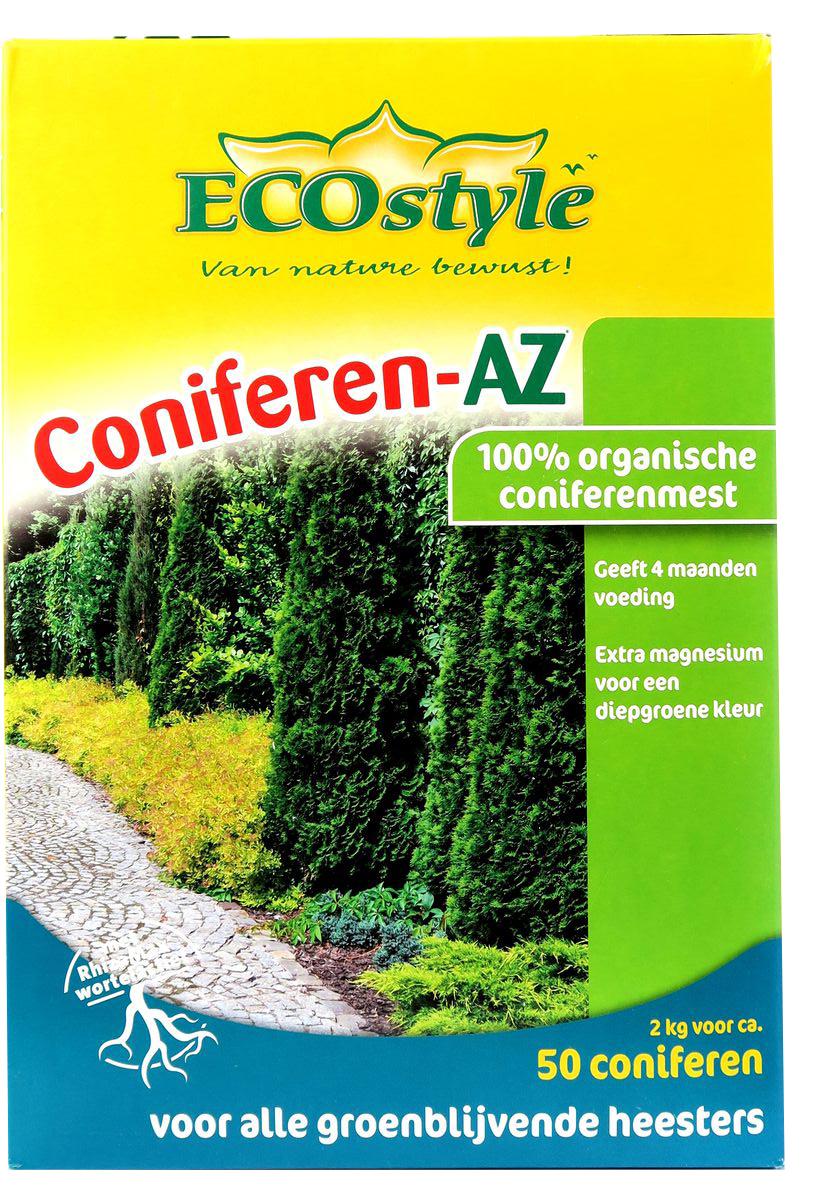 """Удобрение """"EcoStyle"""" - 100% натуральное органическое удобрение, разработанное специально для хвойных и других вечнозеленых деревьев и кустарников, в нем содержится оптимальное количество всех необходимых микро и макро элементов необходимых для их нормального роста и развития. Coniferen-AZ отвечает всем экологическим стандартам. В его состав входит смесь почвенных микроорганизмов, которые обеспечивают удобрению высокую эффективность. Свойства удобрения:Обладает высокой эффективностью и длительным действием, обеспечивает растения питательными веществами на протяжении 4-х месяцев;Активизирует биологические процессы в почве, улучшает ее структуру и состав, что делает растения более яркими;Не вымывается из почвы дождевой водой и не разрушается от воздействия холода;Изготавливается только из экологического сырья высокого качества, не содержит вредных химических соединений;Способствует разложению вредных химических элементов в почве."""
