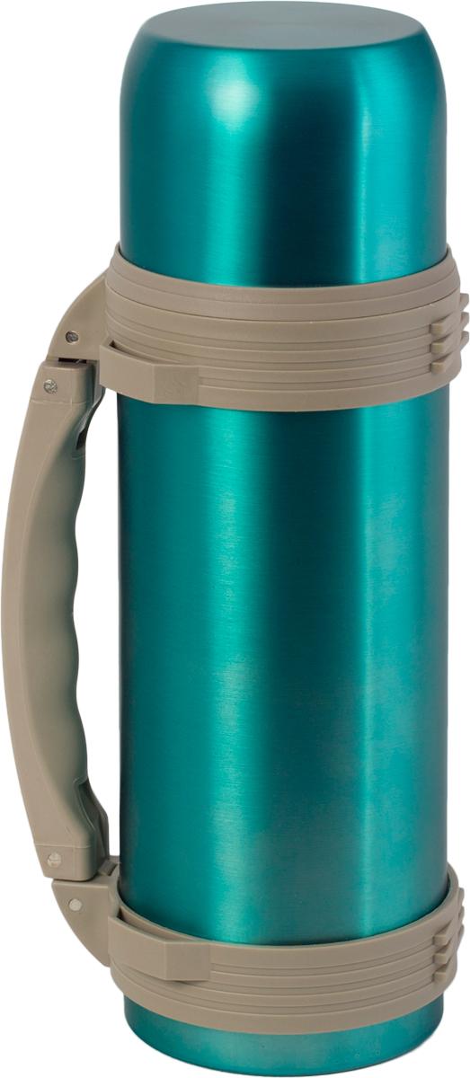 Термос Indiana WD 3603, со складной ручкой, цвет: бирюзовый, бежевый, 1,2 л320400042Термос Indiana WD 3603, выполненный из нержавеющей стали и пластика, позволяет сохранять напитки горячими и холодными длительное время. Термос надежно закрывается пластиковой пробкой, которая снабжена кнопкой для дозирования напитков, позволяющая наливать жидкости без отвинчивания. Прочная эргономичная складная ручка делает использование термоса легким и удобным.Термос Indiana WD 3603 отлично подойдет для хранения и транспортировки жидкостей.