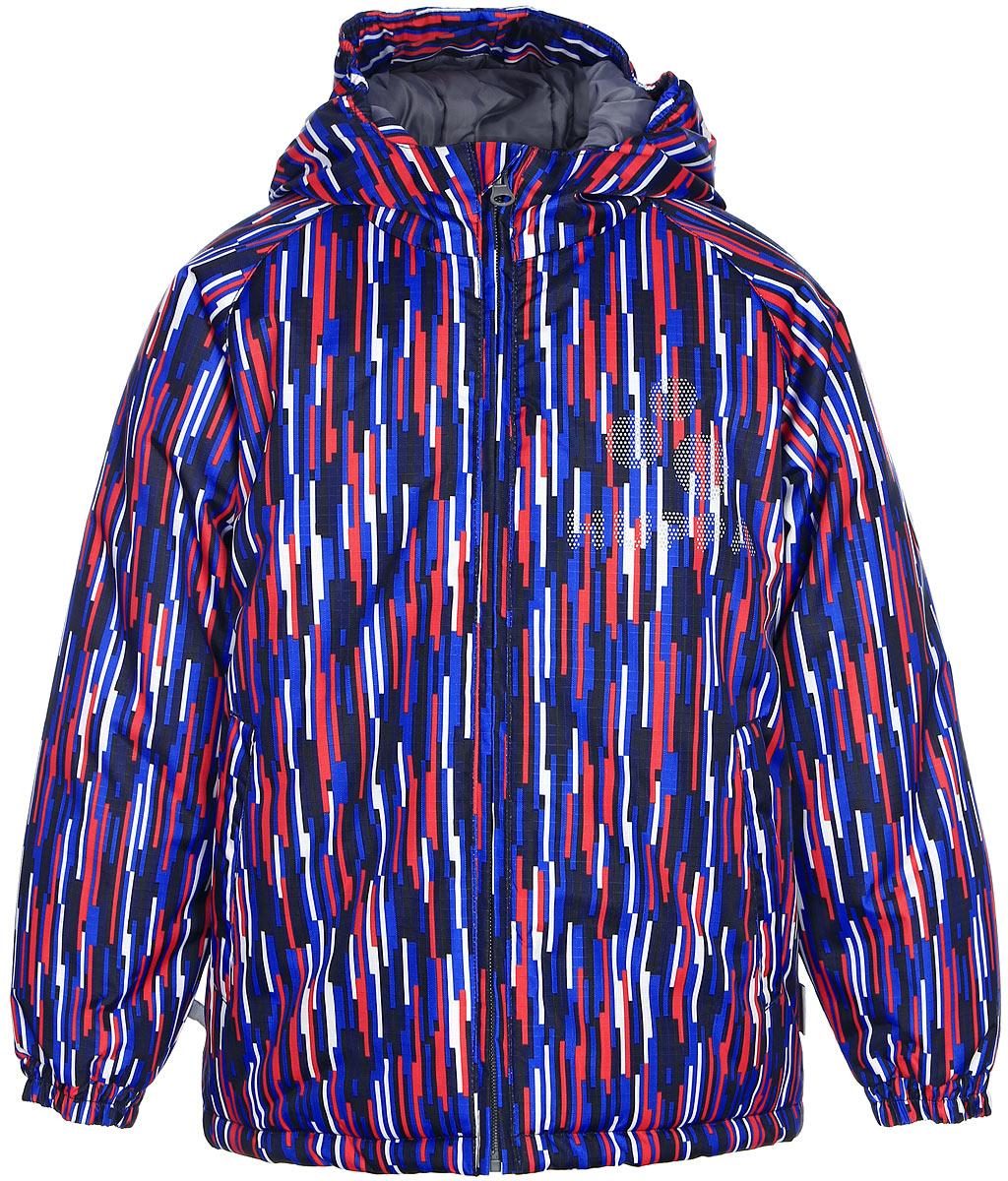 Куртка детская Huppa Classy, цвет: темно-синий. 17710030-586. Размер 12817710030-586Детская куртка Huppa изготовлена из водонепроницаемого полиэстера. Куртка с капюшоном застегивается на пластиковую застежку-молнию с защитой подбородка. Края капюшона и рукавов собраны на внутренние резинки. У модели имеются два врезных кармана. Изделие дополнено светоотражающими элементами