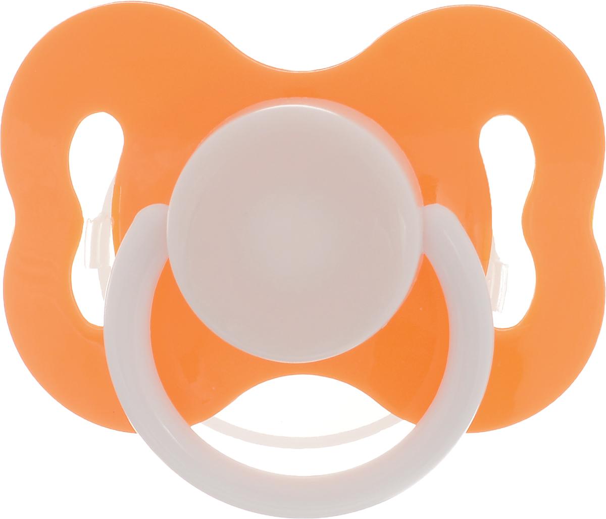 Lubby Соска-пустышка силиконовая с рельефной поверхностью от 3 месяцев цвет оранжевый 4640 lubby