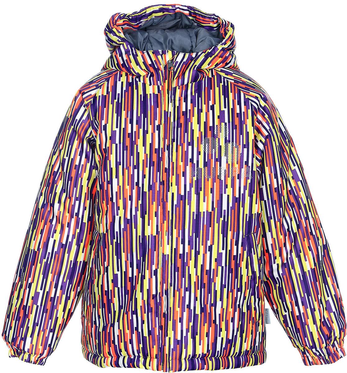 Куртка детская Huppa Classy, цвет: фиолетовый, желтый, белый. 17710030-520. Размер 12217710030-520Детская куртка Huppa изготовлена из водонепроницаемого полиэстера. Куртка с капюшоном застегивается на пластиковую застежку-молнию с защитой подбородка. Края капюшона и рукавов собраны на внутренние резинки. У модели имеются два врезных кармана. Изделие дополнено светоотражающими элементами.