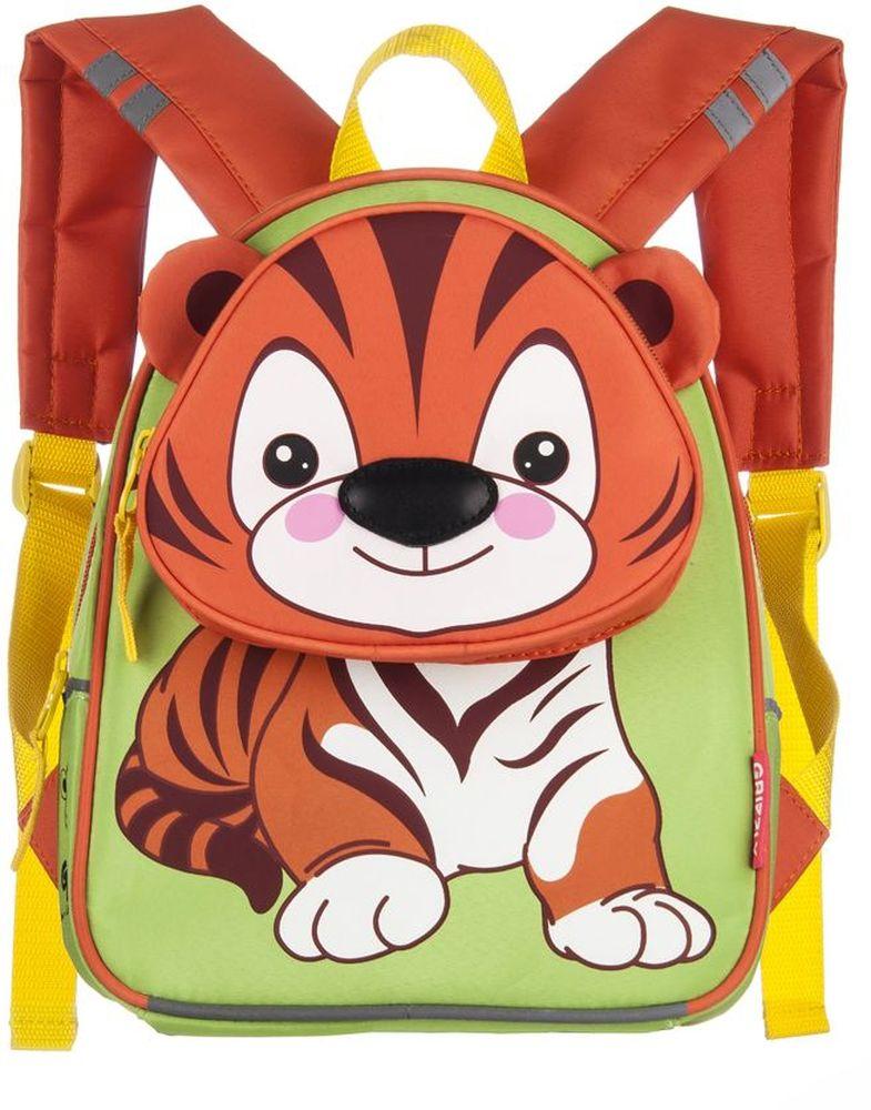 Grizzly Рюкзак детский ТигрRS-546-1/4Рюкзак малый, одно отделение, объемный карман на молнии на передней стенке, внутренний карман, укрепленная спинка, мягкие лямки, светоотражающие элементы с четырех сторон.