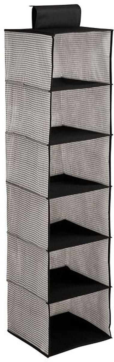Кофр для хранения Handy Home Пепита, подвесной, 6 секций, цвет: серый, черный, 30 х 30 х 120 см ваза mughal l 20 х 20 х 30 см