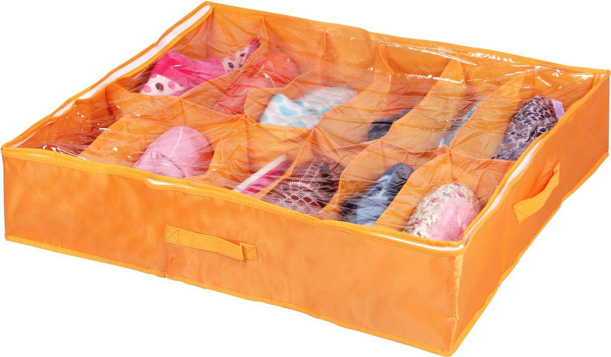 Кофр для хранения вещей Handy Home Апельсин, 12 секций, 75 х 60 х 15 смUC-34Короб складной с секциями. Занимает минимум места в сложенном виде. Подходит для хранения летней обуви, носков, нижнего белья, галстуков и других вещей. Короб снабжен прозрачным окошком, что позволяет легко просматривать содержимое.