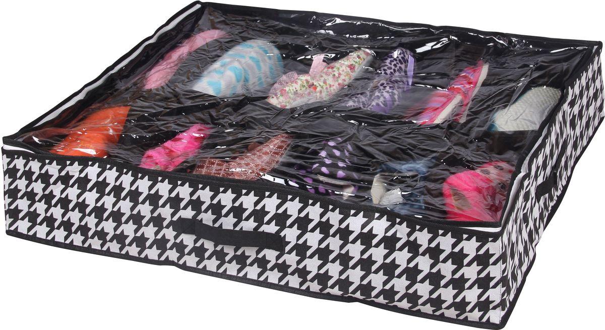 Короб для хранения Handy Home Пепита, 12 секций, цвет: черный, белый, 75 х 60 х 15 смUC-44Короб для хранения Handy Home Пепита складной с секциями занимает минимум места в сложенном виде. Подходит для хранения летней обуви, носков, нижнего белья, галстуков и других вещей. Короб снабжен прозрачным окошком, что позволяет легко просматривать содержимое. Размер: 75 х 60 х 15 см