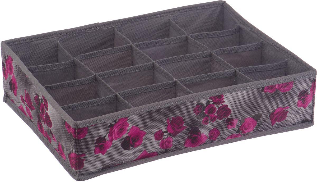 Короб для хранения Handy Home Роза, 16 секций, цвет: серый, фиолетовый, 35 х 27 х 9 смUC-66Короб для хранения Handy Home Роза складной с секциями занимает минимум места в сложенном виде. Изделие выполнено из нетканого материала. Подходит для хранения летней обуви, носков, нижнего белья, галстуков и других вещей.Размер: 35 х 27 х 9 см.