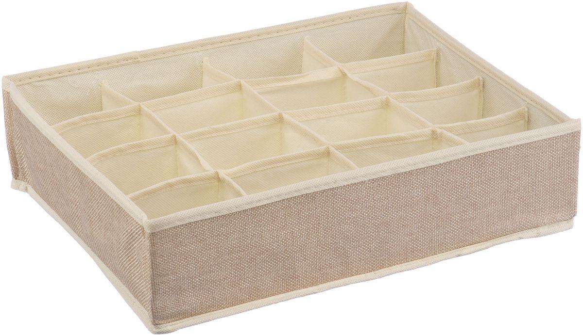 Короб для хранения Handy Home Лен, 16 секций, цвет: бежевый, 35 х 27 х 9 см handy home короб для хранения обуви апельсин 94х60х15 см 4 секции оранжевый gj9yn4x