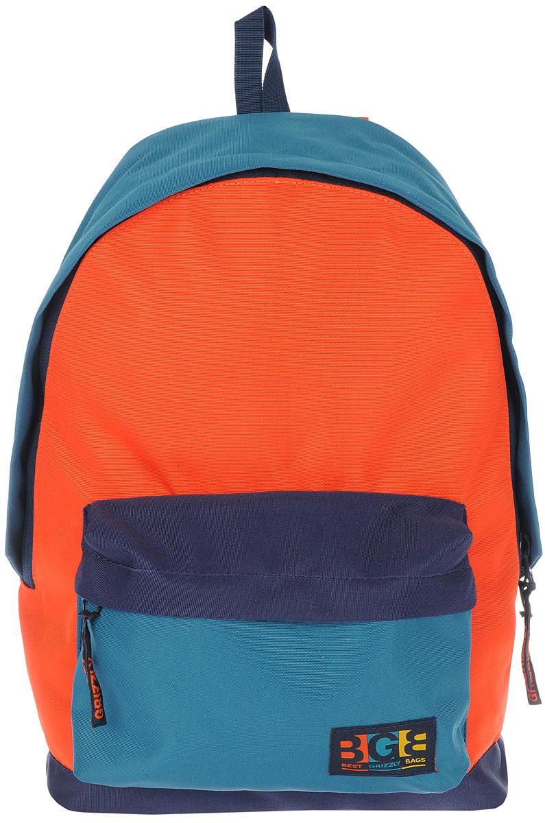 Рюкзак городской Grizzly, цвет: синий, оранжевый. 18 л. RU-704-3/4RU-704-3/4Рюкзак городской Grizzl выполнен из высококачественного таслана. Рюкзак имеет ручку-петлю для подвешивания и две укрепленные лямки, длина которых регулируется с помощью пряжек. Модель имеет одно основное отделение, которое дополнено подвесным карманом на молнии. Передняя стенка оснащена объемным карманом на застежке-молнии. Тыльная сторона рюкзака имеет укрепленную спинку.