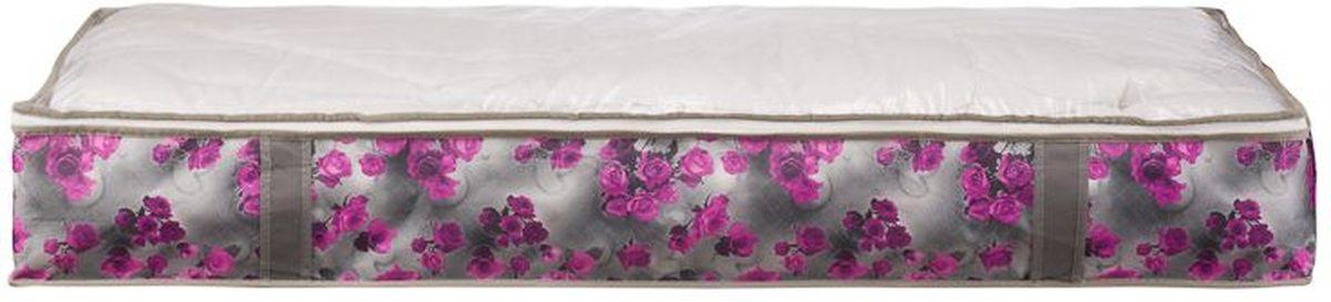 Короб для хранения Handy Home Роза, складной, цвет: серый, фиолетовый, 107 х 46 х 15 см