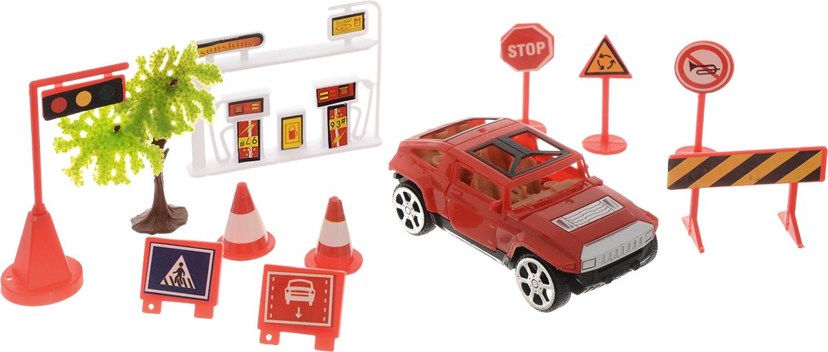 ABtoys Игровой набор Автозаправка цвет красный черный