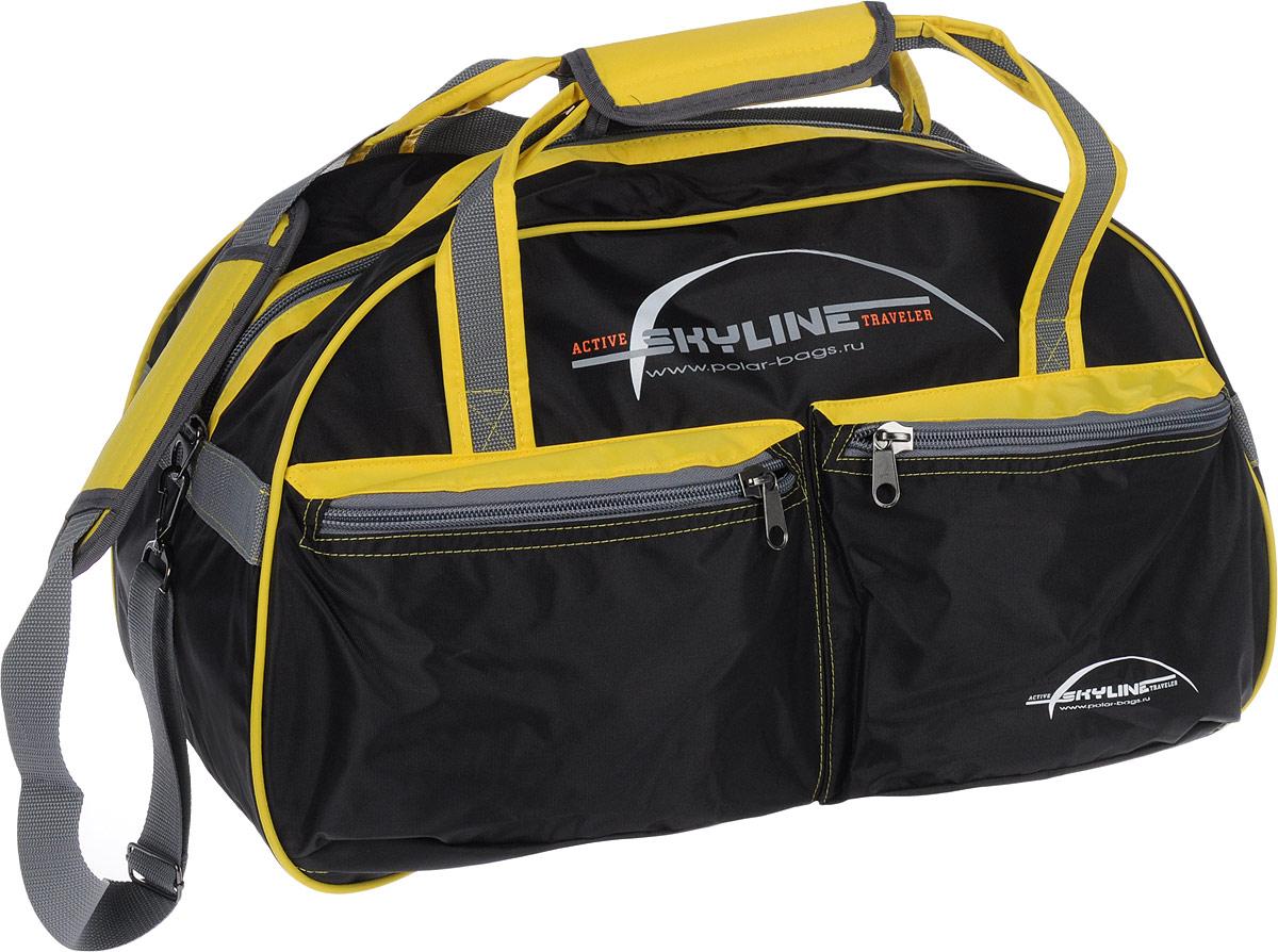 Сумка спортивная Polar Скайлайн, цвет: черный, желтый, серый, 53 л. П05/6 сумка спортивная мужская adidas cvrt 3s duf m цвет черный 37 л cg1533