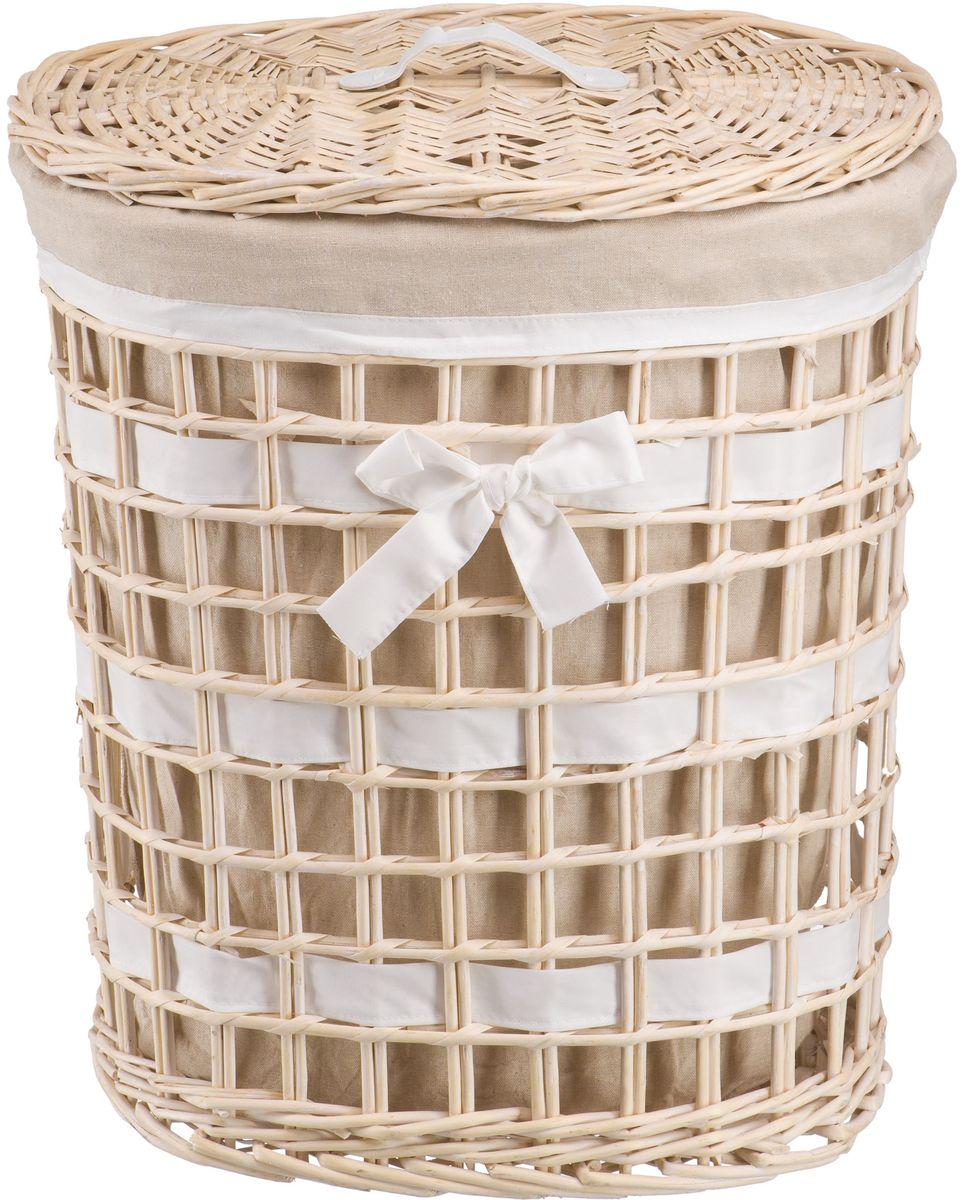 Корзина для белья Natural House Бантик, цвет: молочный, 49 х 36 х 55 смEW-06 LПлетеная бельевая корзина Natural House круглой формы с крышкой станет прекрасным дополнением интерьера. Чехол из ткани легко снимается и стирается. При изготовлении корзины используются только натуральные материалы. Поверхность обработана водоотталкивающим и антибактериальным покрытием, поэтому корзину можно использовать в ванных комнатах.Материалы изготовления корзины: лоза ивы, ткань.