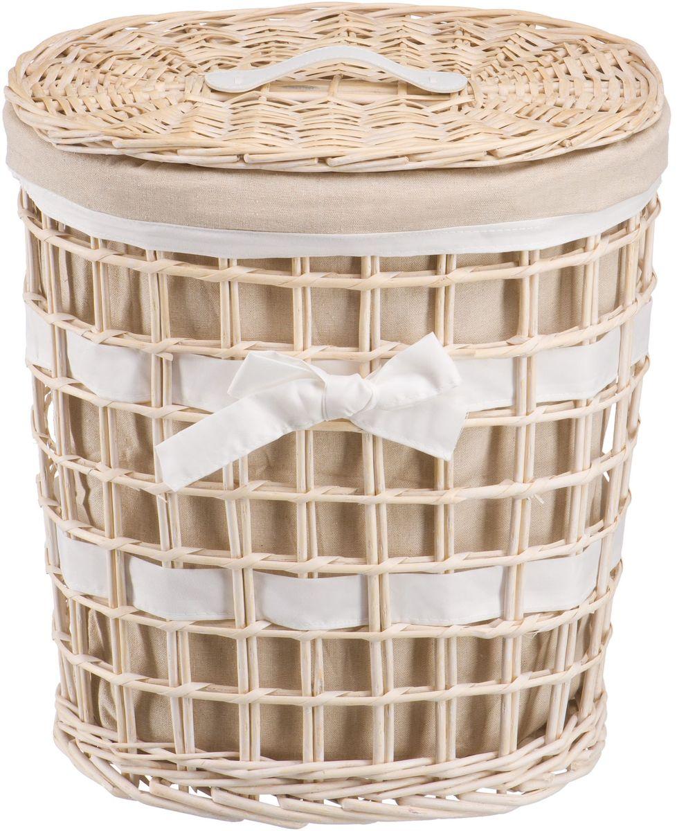 Корзина для белья Natural House Бантик, цвет: молочный, 39 х 27 х 45 смEW-06 MПлетеная бельевая корзина Natural House круглой формы с крышкой станет прекрасным дополнением интерьера. Чехол из ткани легко снимается и стирается. При изготовлении корзины используются только натуральные материалы. Поверхность обработана водоотталкивающим и антибактериальным покрытием, поэтому корзину можно использовать в ванных комнатах.Материалы изготовления корзины: лоза ивы, ткань.