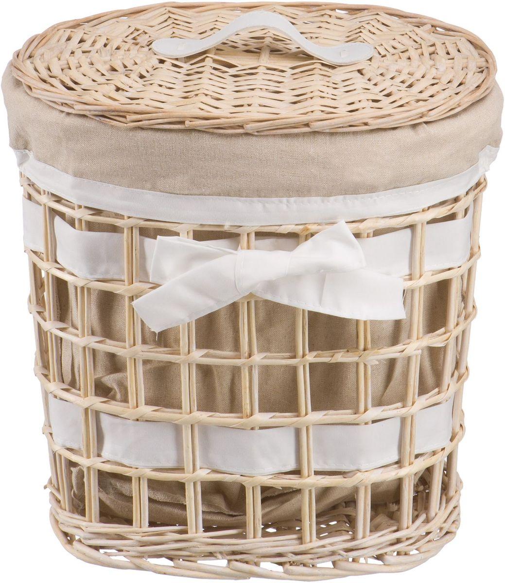 Корзина для белья Natural House Бантик, цвет: молочный, 32 х 21 х 36 смEW-06 SПлетеная бельевая корзина Natural House круглой формы с крышкой станет прекрасным дополнением интерьера. Чехол из ткани легко снимается и стирается. При изготовлении корзины используются только натуральные материалы. Поверхность обработана водоотталкивающим и антибактериальным покрытием, поэтому корзину можно использовать в ванных комнатах.Материалы изготовления корзины: лоза ивы, ткань.