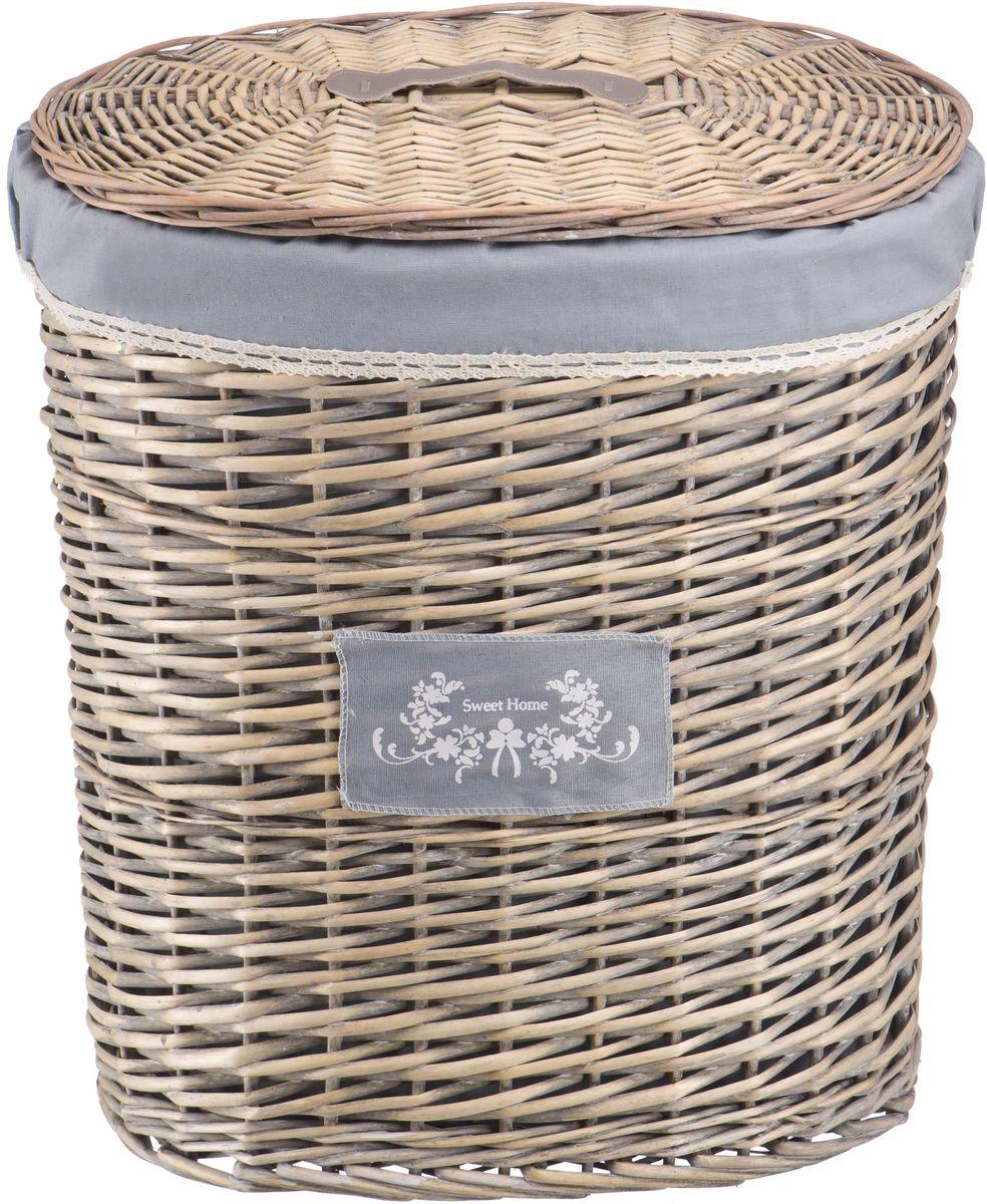"""Корзина для белья Natural House """"Лен"""", цвет: серый, 49 х 36 х 55 см"""