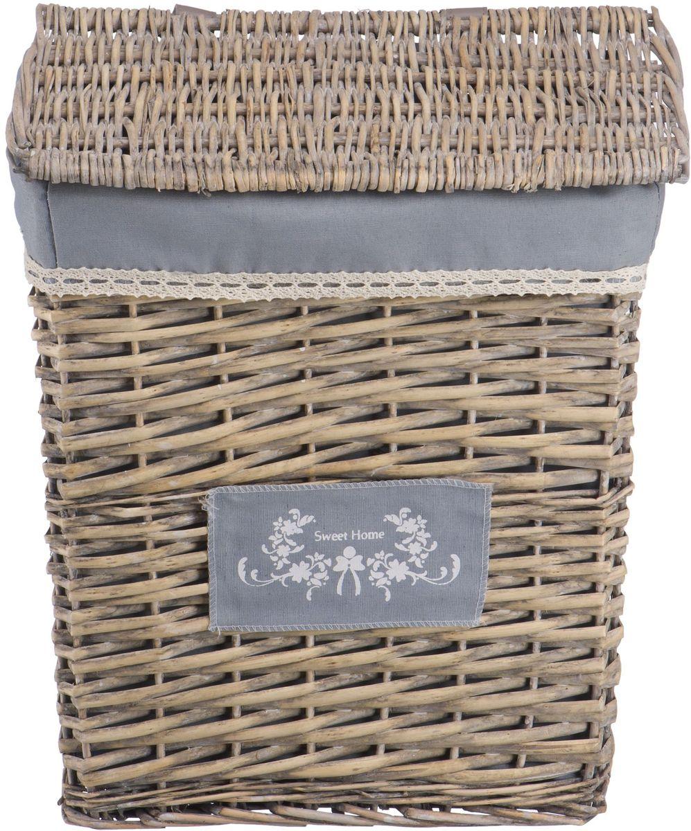 """Корзина для белья Natural House """"Лен"""", цвет: серый, 39 х 28 х 45 см"""