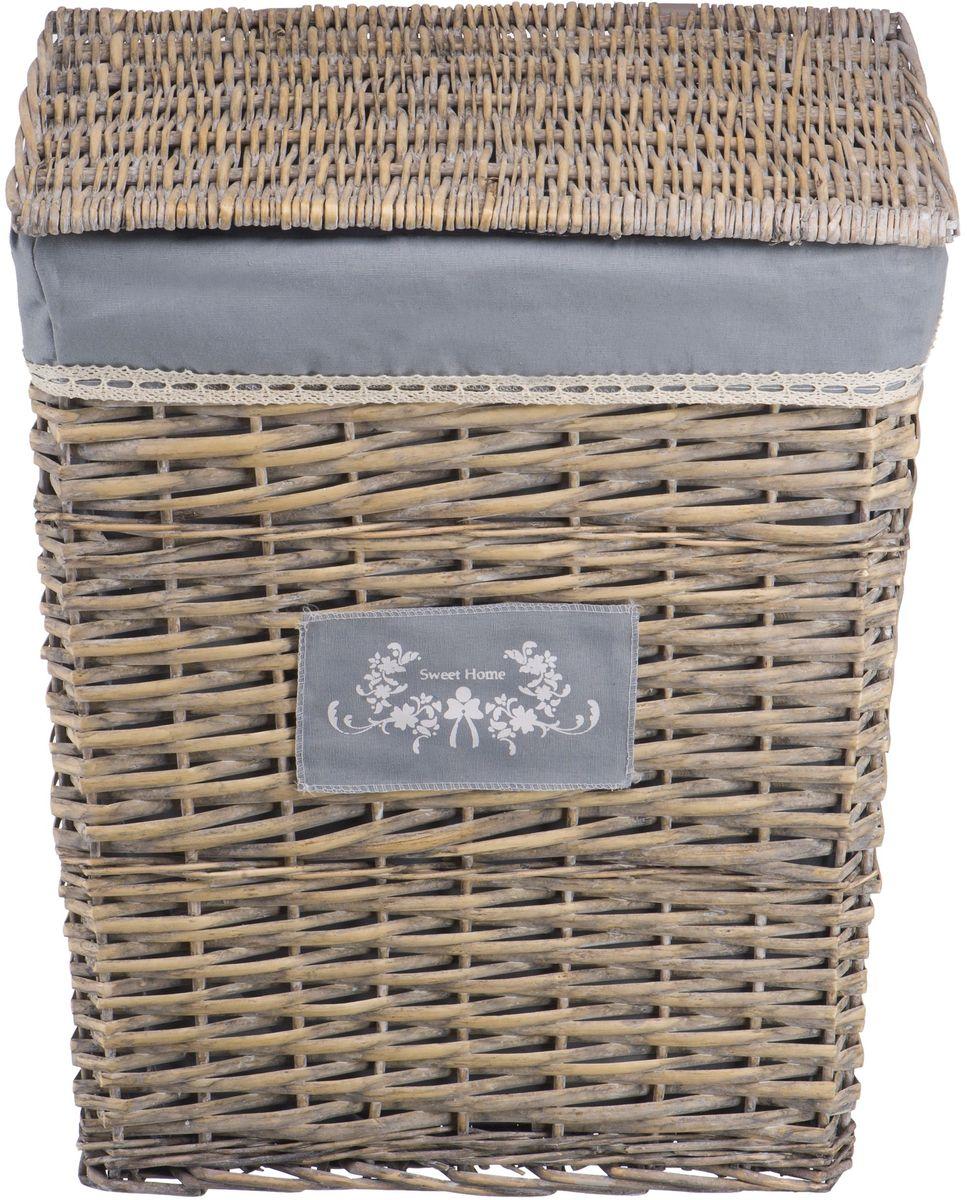 """Корзина для белья Natural House """"Лен"""", цвет: серый, 47 х 35 х 55 см"""