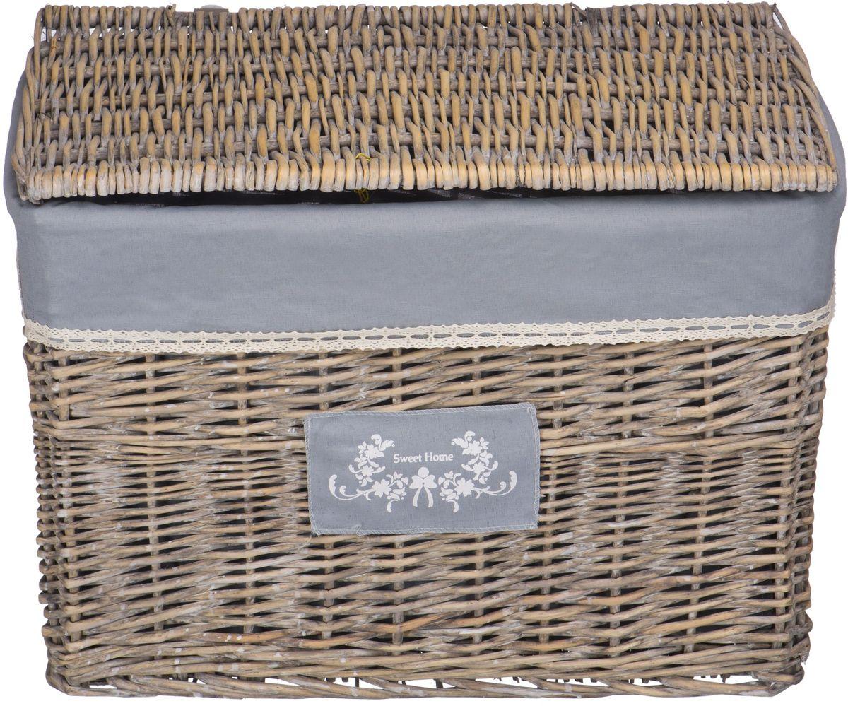 """Корзина для белья Natural House """"Лен"""", цвет: серый, 58 х 38 х 42 см"""