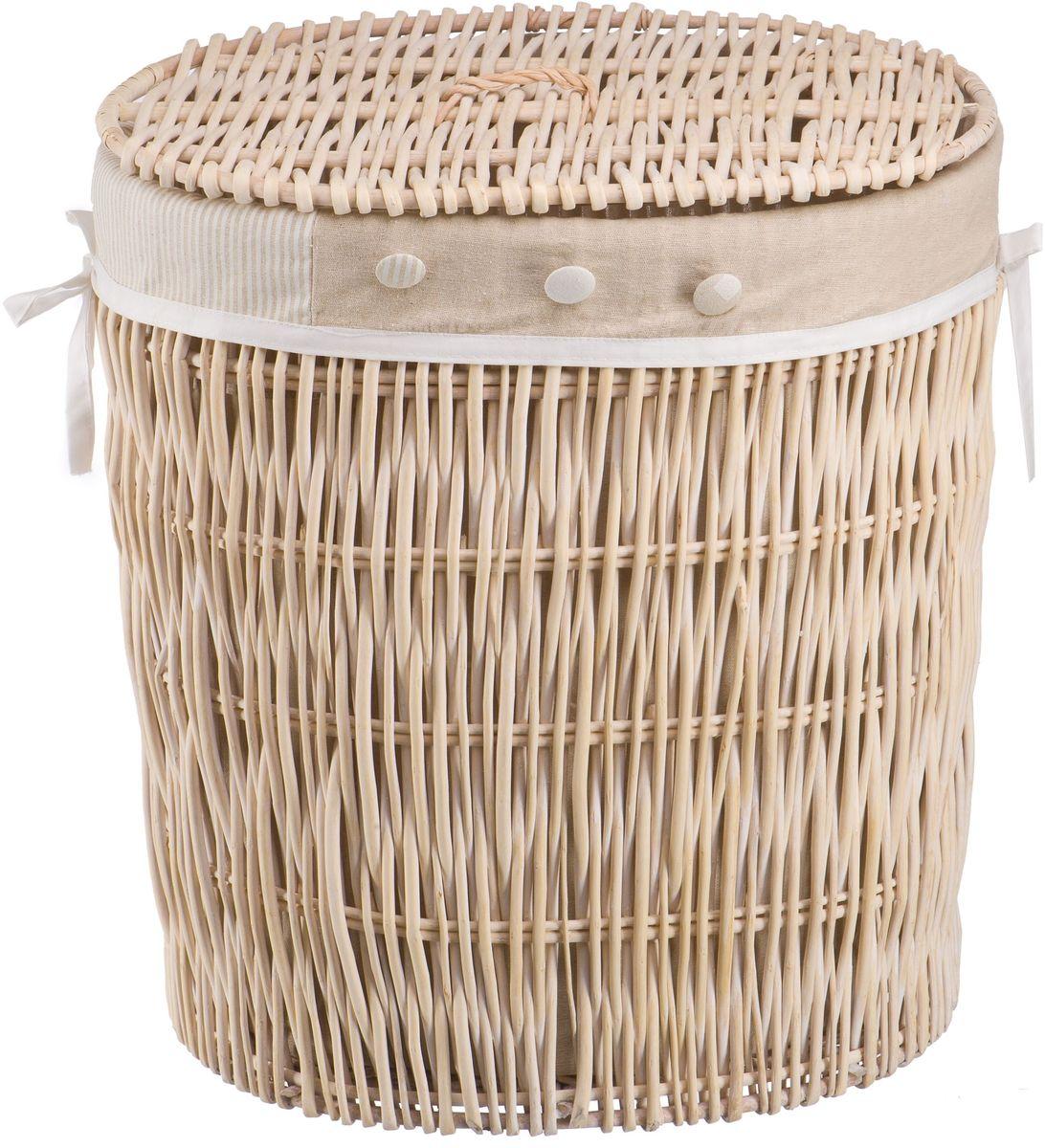 Корзина для белья Natural House Пуговка, цвет: молочный, 51 х 40 х 54 смEW-21 LБельевая корзина Natural House из лозы ивы не только удобна, практична, но и прекрасно выглядит. Высокое качество и натуральные материалы гармонично сочетаются и создают в доме уют и теплое настроение.В комплекте с корзиной идет съемный чехол, который легко снимается и стирается.