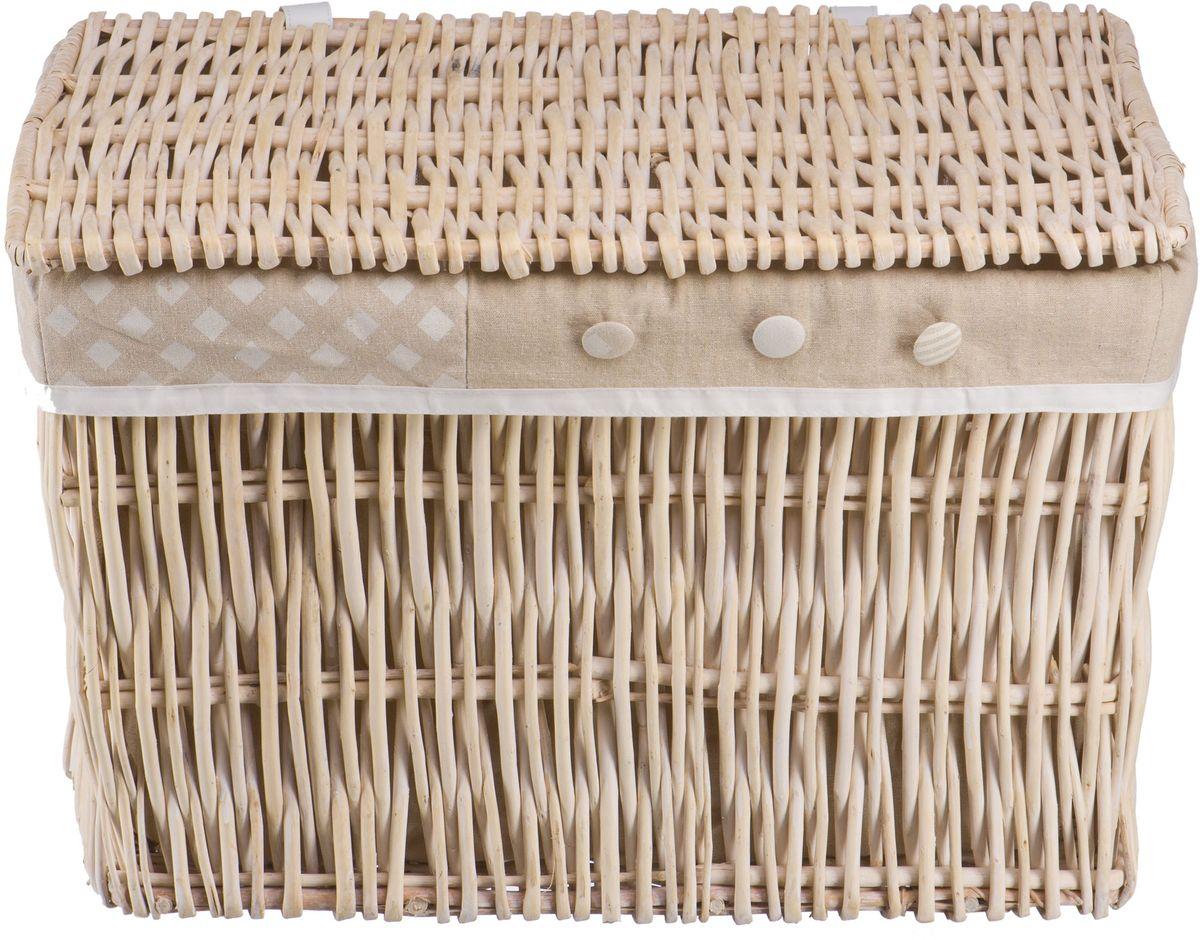 Корзина для белья Natural House Пуговка, цвет: молочный, 60 х 40 х 40 смEW-23 LПлетеная бельевая корзина прямоугольной формы с крышкой станет прекрасным дополнением интерьера. Чехол из ткани легко снимается и стирается. При изготовлении корзины используются только натуральные материалы. Поверхность обработана водоотталкивающим и антибактериальным покрытием, поэтому корзину можно использовать в ванных комнатах. Материалы изготовления корзины: лоза ивы, ткань.