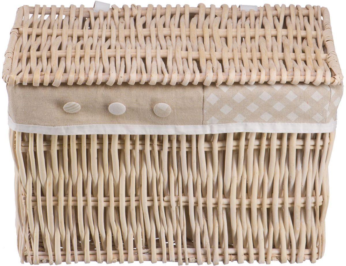"""Плетеная бельевая корзина """"Natural House"""" прямоугольной формы с крышкой станет прекрасным дополнением интерьера. Чехол из ткани легко снимается и стирается. При изготовлении корзины используются только натуральные материалы. Поверхность обработана водоотталкивающим и антибактериальным покрытием, поэтому корзину можно использовать в ванных комнатах.  Материалы изготовления корзины: лоза ивы, ткань."""