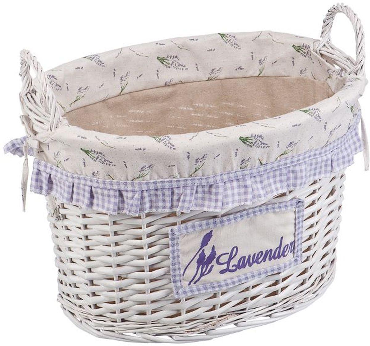 Корзина для белья Natural House  Лаванда , с ручками, цвет: белый, 45 х 32 х 30 см - Корзины для белья