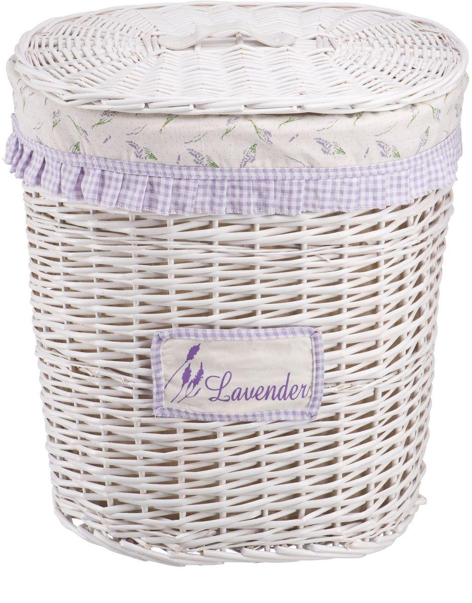 """Корзина для белья Natural House """"Лаванда"""", высокая, цвет: белый, 48 х 36 х 55 см"""