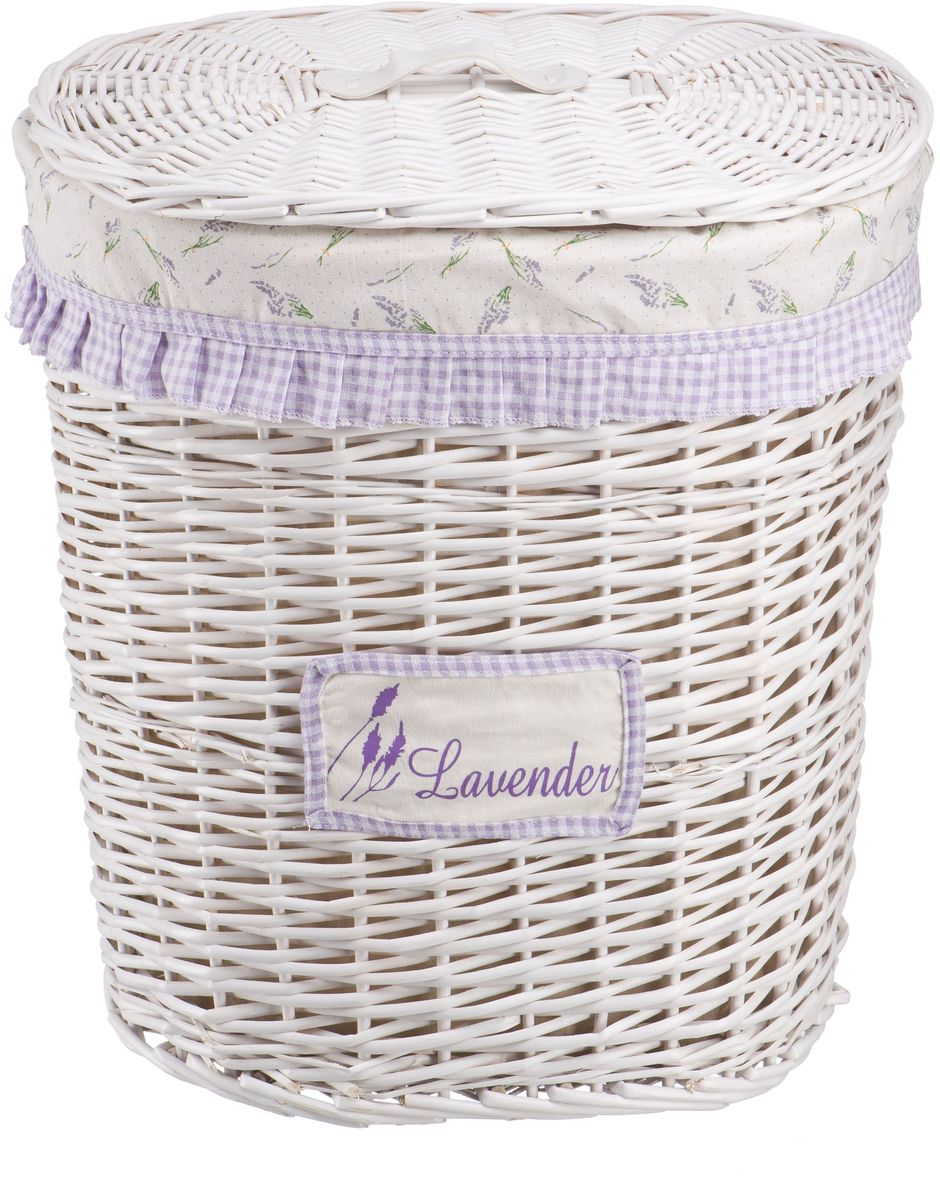 Корзина для белья Natural House Лаванда, высокая, цвет: белый, 48 х 36 х 55 см корзина для белья violet ротанг угловая цвет белый 60 л