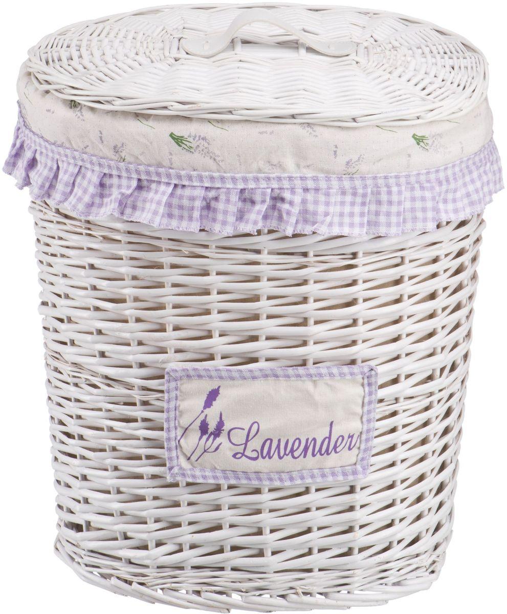 Корзина для белья Natural House Лаванда, высокая, цвет: белый, 39 х 27 х 45 см корзина для белья violet ротанг угловая цвет белый 60 л