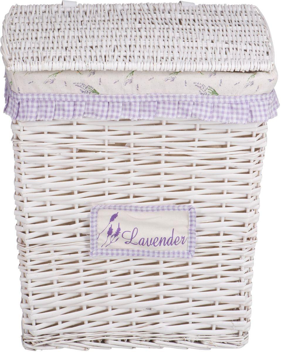 """Корзина для белья Natural House """"Лаванда"""", прямоугольная, цвет: белый, 47 х 35 х 55 см"""