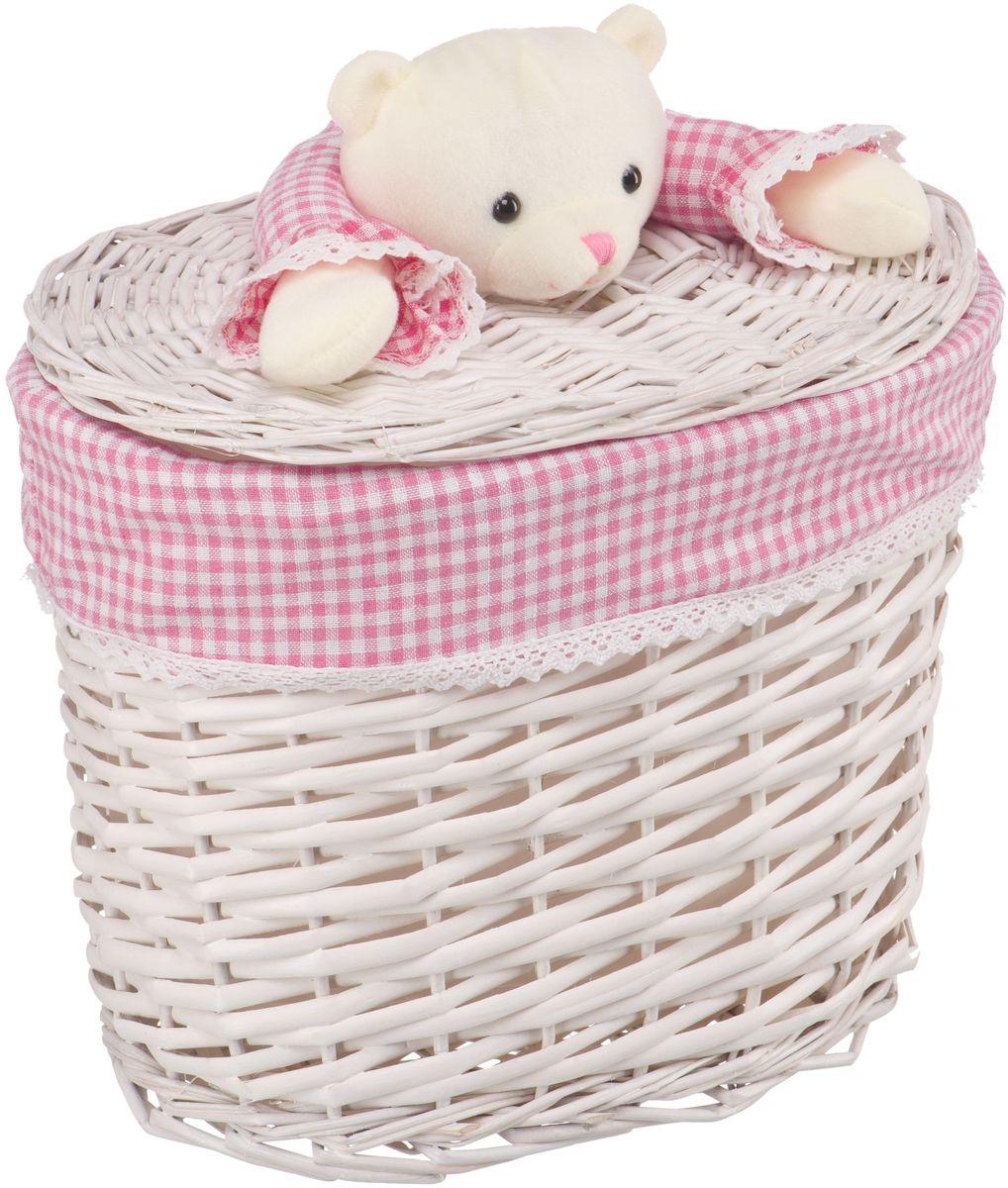 """Корзина для белья Natural House """"Медвежонок"""", цвет: молочный, розовый, 33 x 21 x 28 см"""