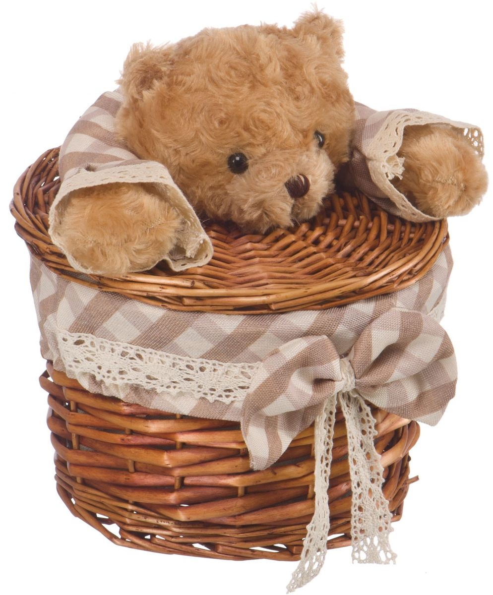 """Корзина для белья Natural House """"Медвежонок"""", цвет: коричневый, 21 х 21 x 16 см"""