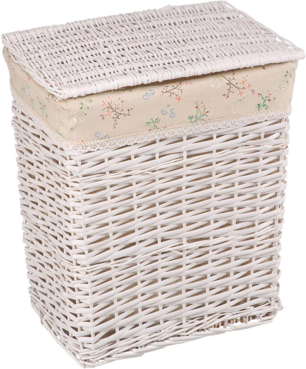 """Корзина для белья Natural House """"Сакура"""", цвет: белый, 47 x 35 x 55 см"""