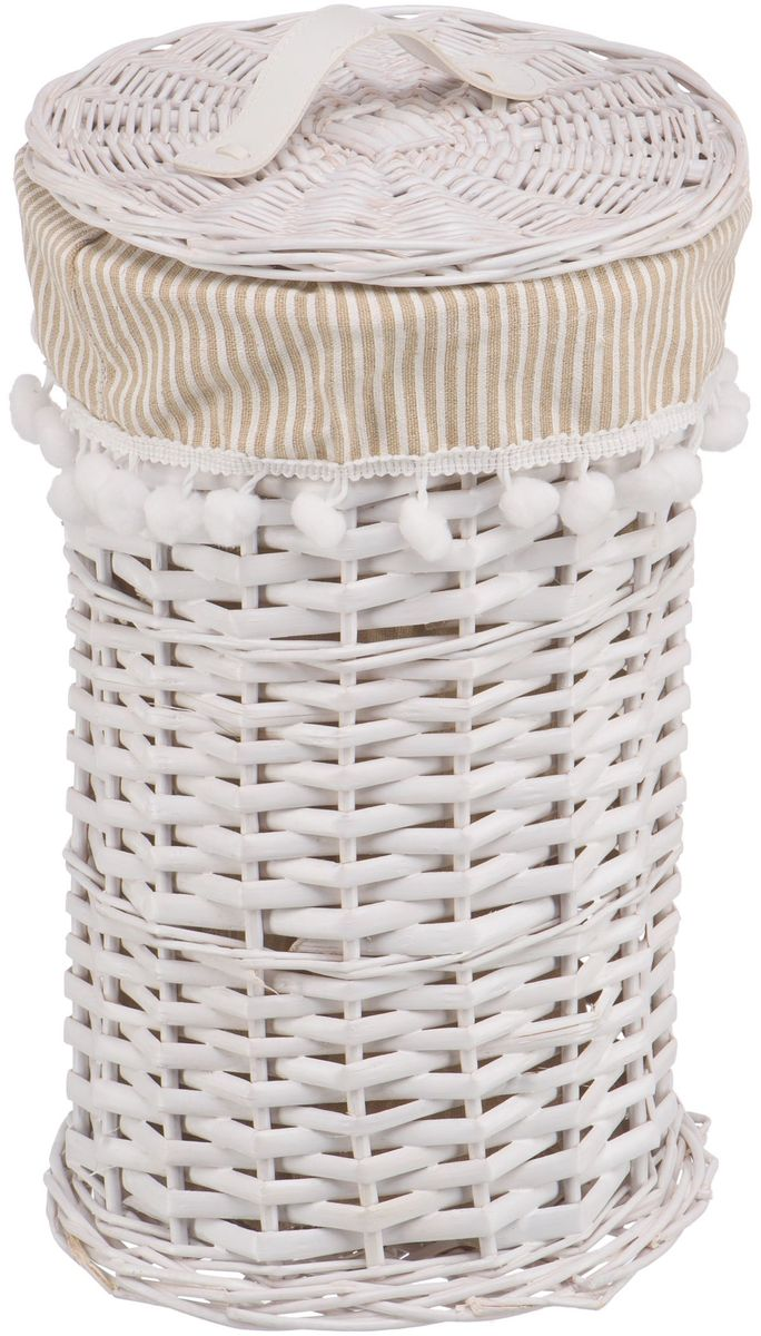 Корзина для белья Natural House  Колокольчик , цвет: белый, 20 х 20 х 34 см - Корзины для белья