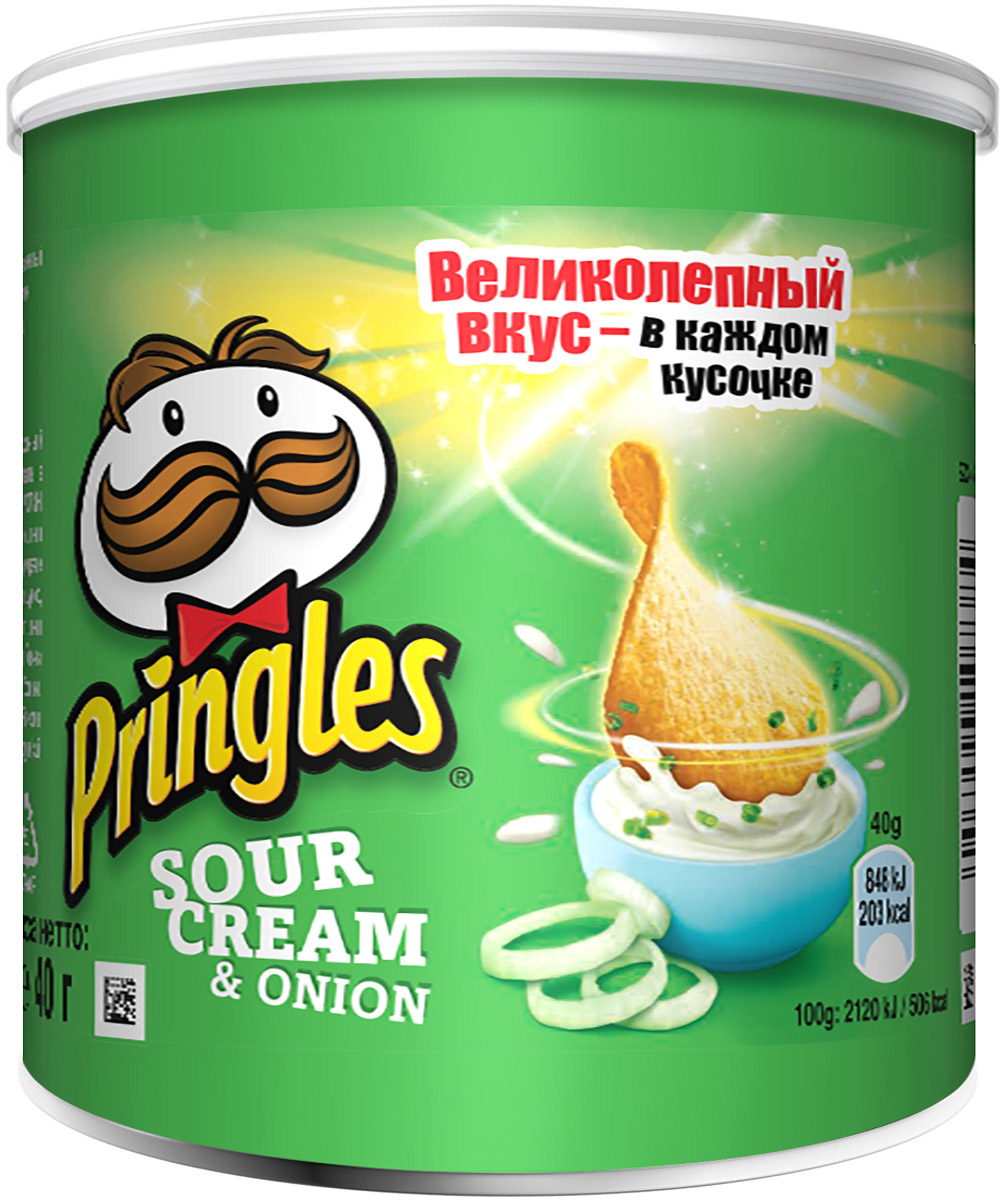 Pringles картофельные чипсы со вкусом сметаны и лука, 40 г pringles original картофельные чипсы 70 г