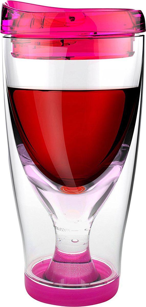 Стакан Asobu Ice vino 2go, цвет: розовый, 480 мл термоконтейнер для банок и бутылок asobu frosty to 2 go chiller цвет черный